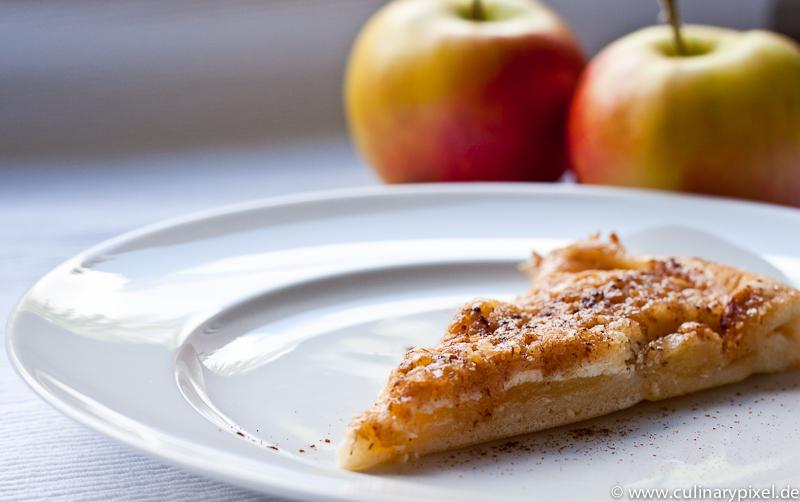 Apfelkuchen-Pizza mit Hefeteig