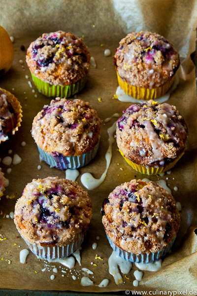 Muffins mit Blaubeeren und Zitrone