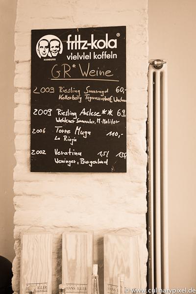 Weinkarte im Gesellschaftsraum München