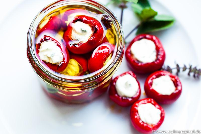 Basilikumfrischkäse-Paprika