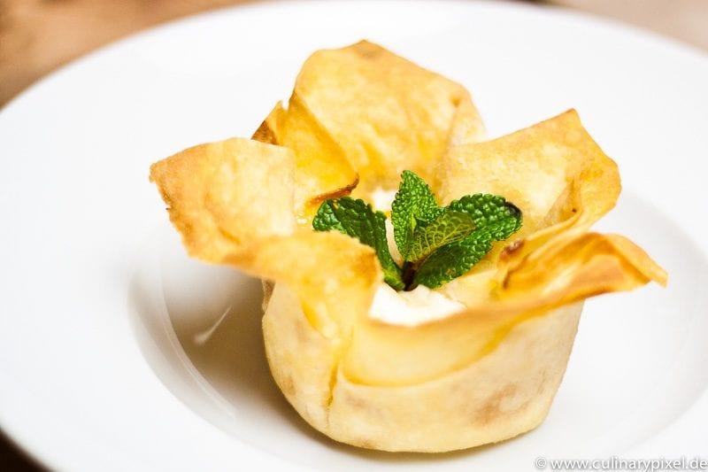 Dessert aus Filoteig und Birne