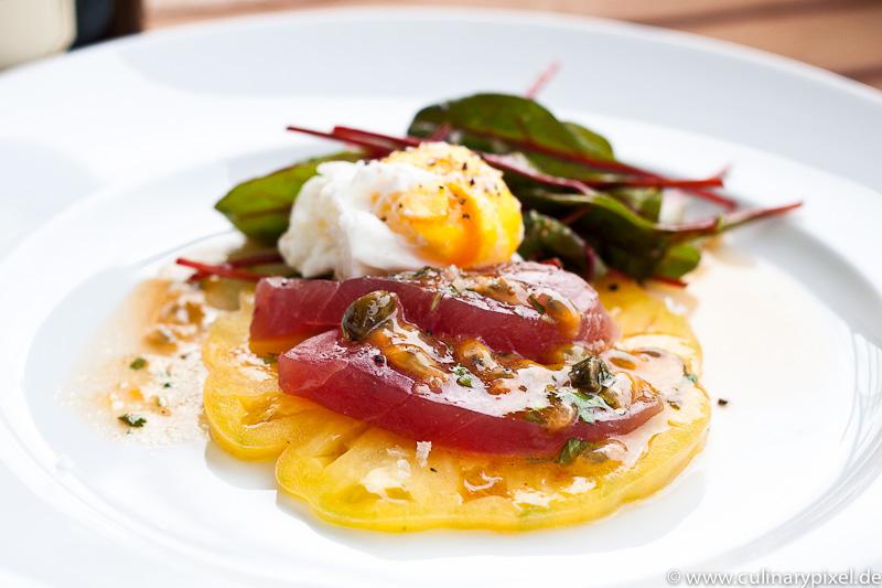 Baby-Mangold, pochiertes Ei, roher Thunfisch