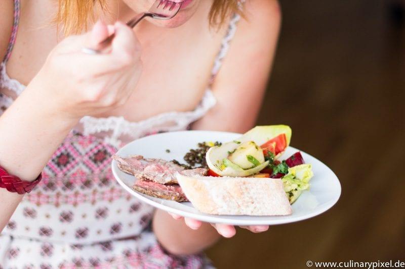Sommersalate, Roastbeef vom Ribeye und Linsen