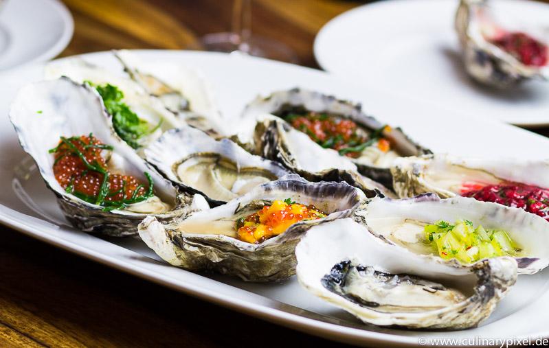 Austern mit 5 verschiedenen Toppings