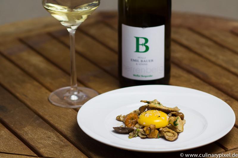Onsenei, Pilze, Weißburgunder von Bauer