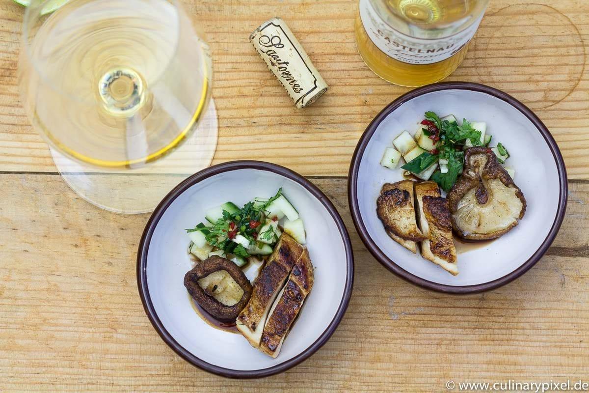 Hähnchen, Shitake und Sauternes