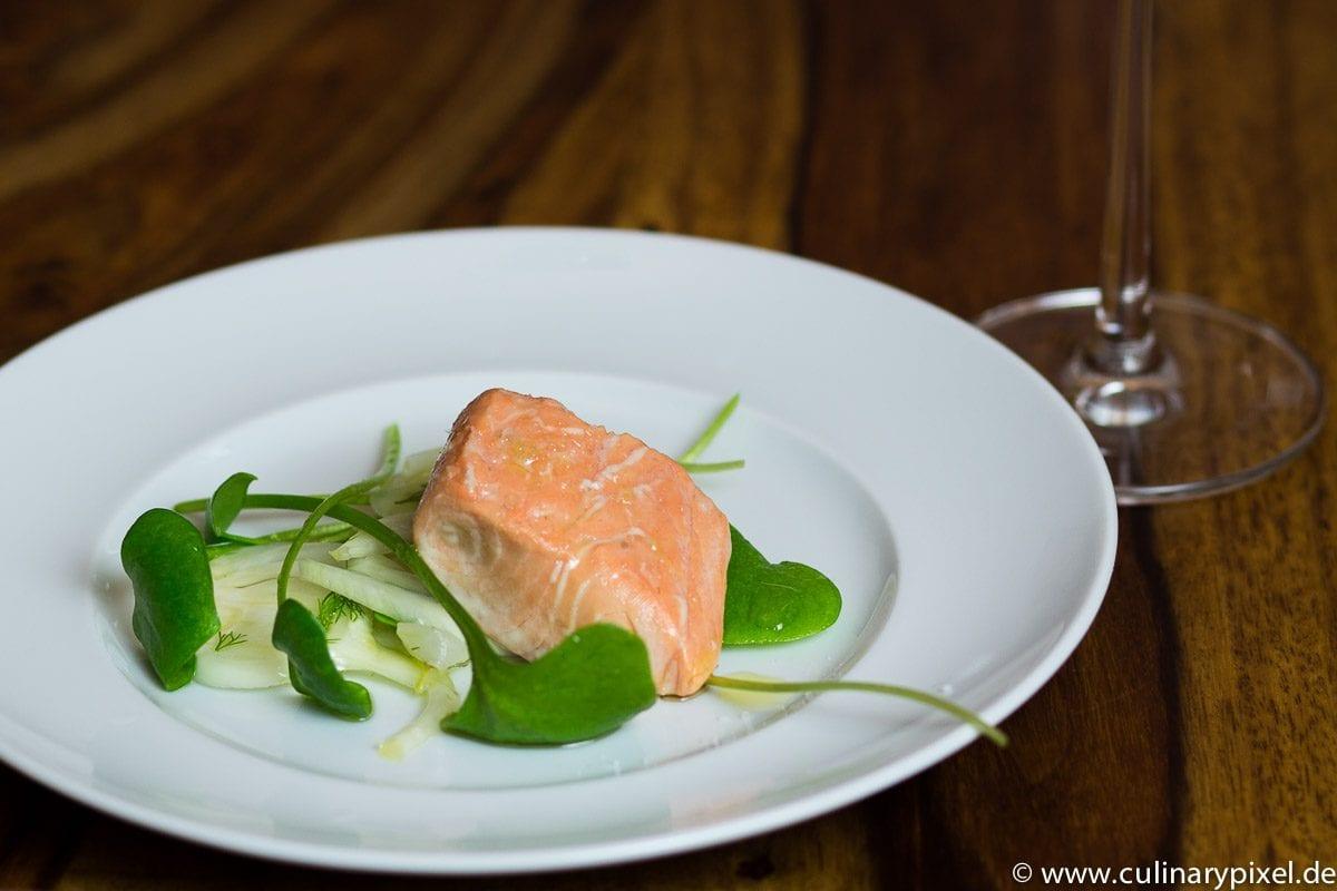 sous vide Lachs mit Sauternes und Fenchelsalat