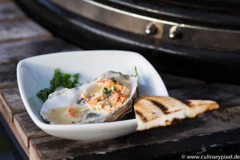 Austern mit Flusskrebs vom Grill