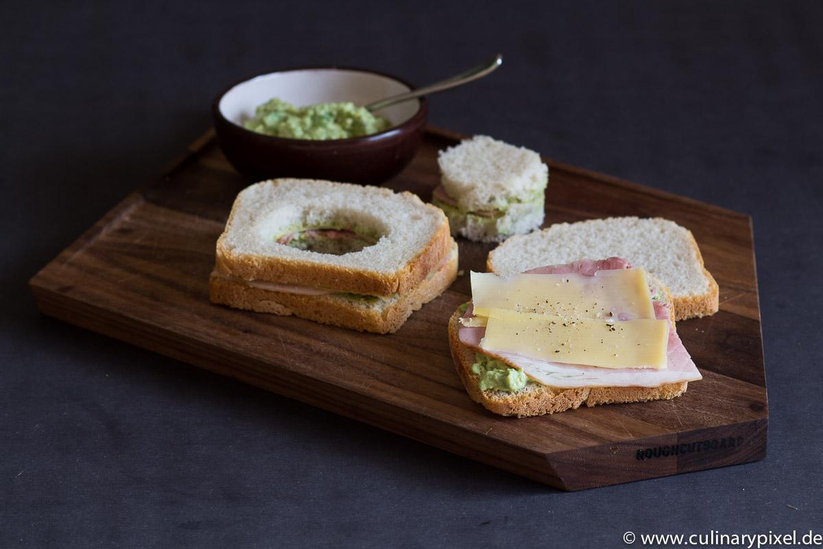 Schinken Käse Sandwich mit Ei