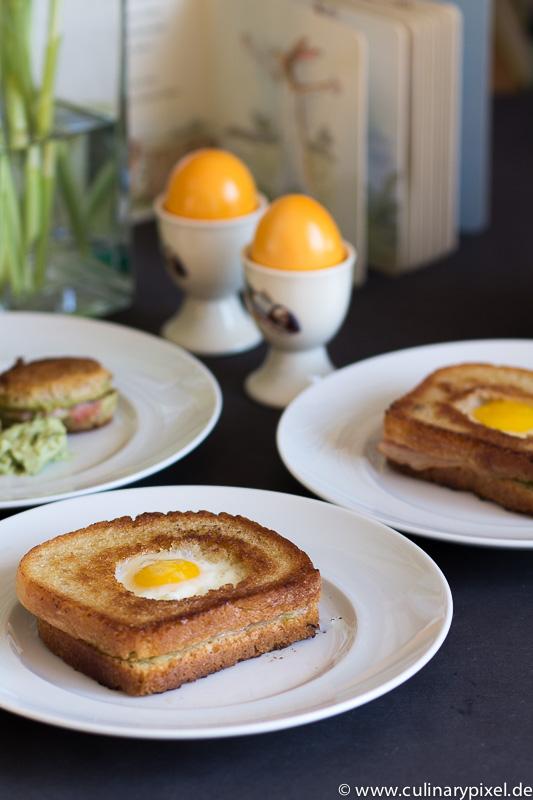 Schinken Käse Toast mit Ei zu Ostern