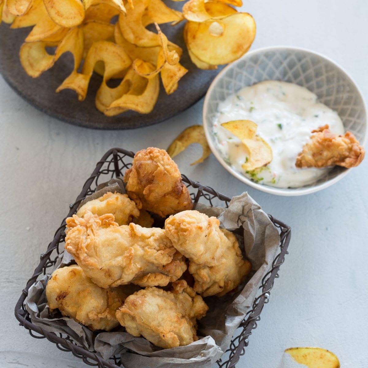 Fish & Chips: Kabeljau-Nuggets mit Kartoffelspiralen
