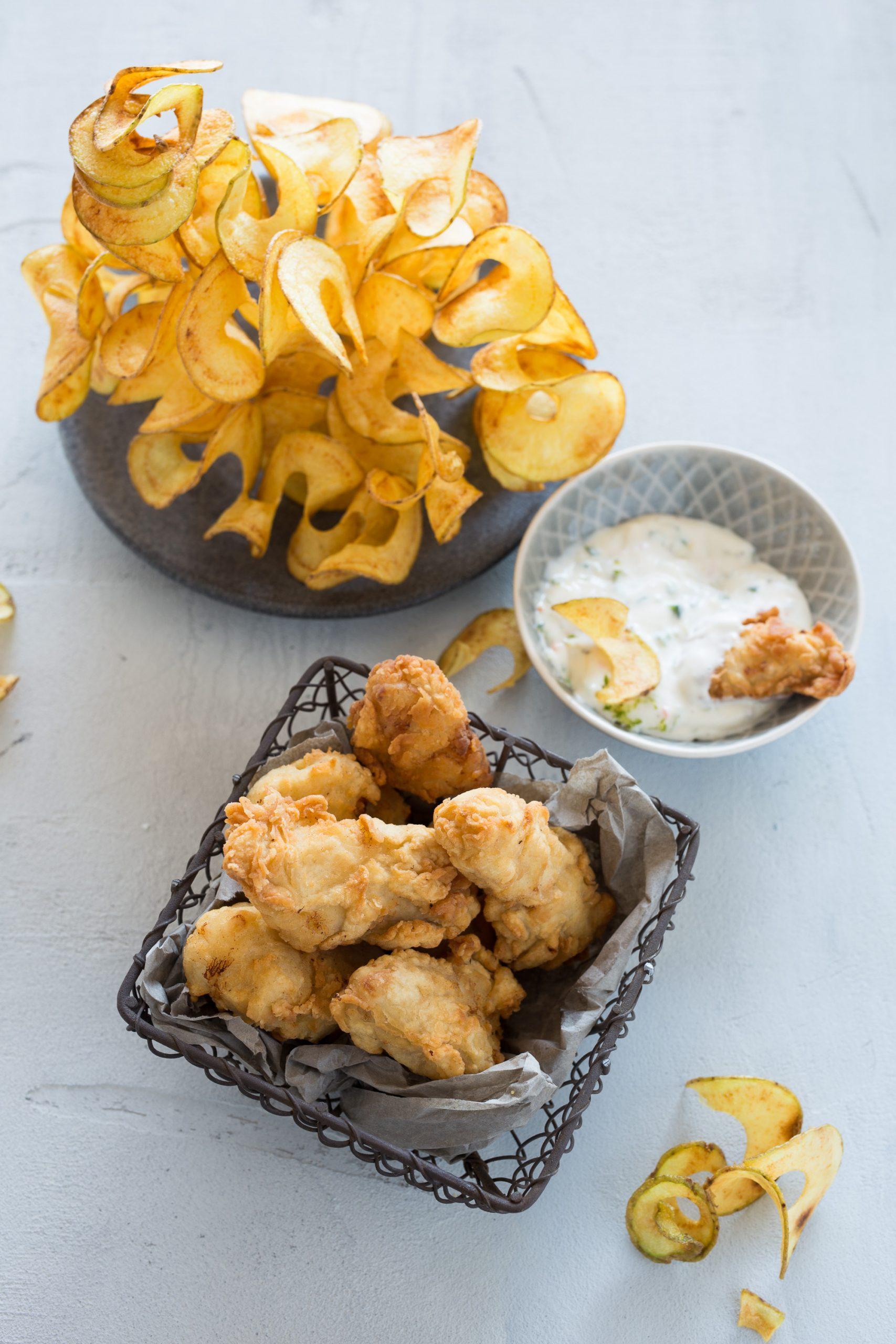 Kabeljau-Nuggets mit Kartoffelspiralen
